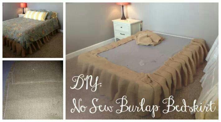 No sew Burlap bed skirt