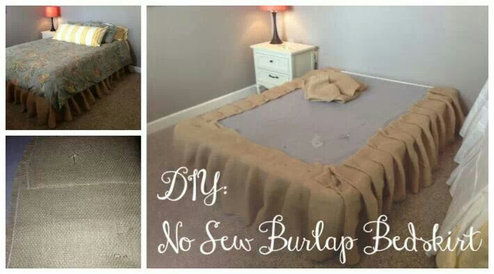 No sew Burlap bed skirt