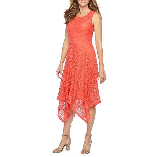 ec3f1f5e2b8 Ronni Nicole Sleeveless Lace Hanky Hem Fit   Flare Dress - JCPenney