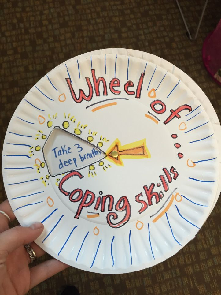 This wheel would be excellent to help a child figure out a coping skill to use. It is a physical activity that a child won't have to think about when doing. I find that thinking of a coping mechanism to use in the moment when one is upset can be difficult, so to have a set of coping skills already set up and a fun activity to figure out which one to use would probably be best for a child.