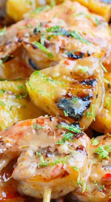 Grilled Coconut and Pineapple Sweet Chili Shrimp