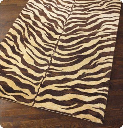 Zebra print painted floorcloth