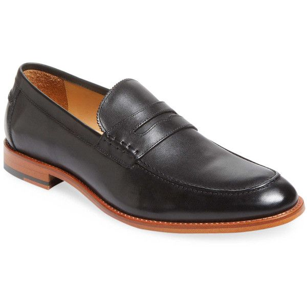 Warfield & Grand Men's Apron-Toe Leather Loafer - Black, Size 10 ($99) ❤ liked on Polyvore featuring men's fashion, men's shoes, men's loafers, black, mens loafer shoes, mens shoes, mens black loafers, mens leather shoes and mens leather loafers