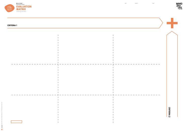 Evaluation Matrix fMindshake Design Thinking TEMPLATES PDF: http://www.mindshake.pt/public/download/E4_evaluationmatrix_A1.pdf