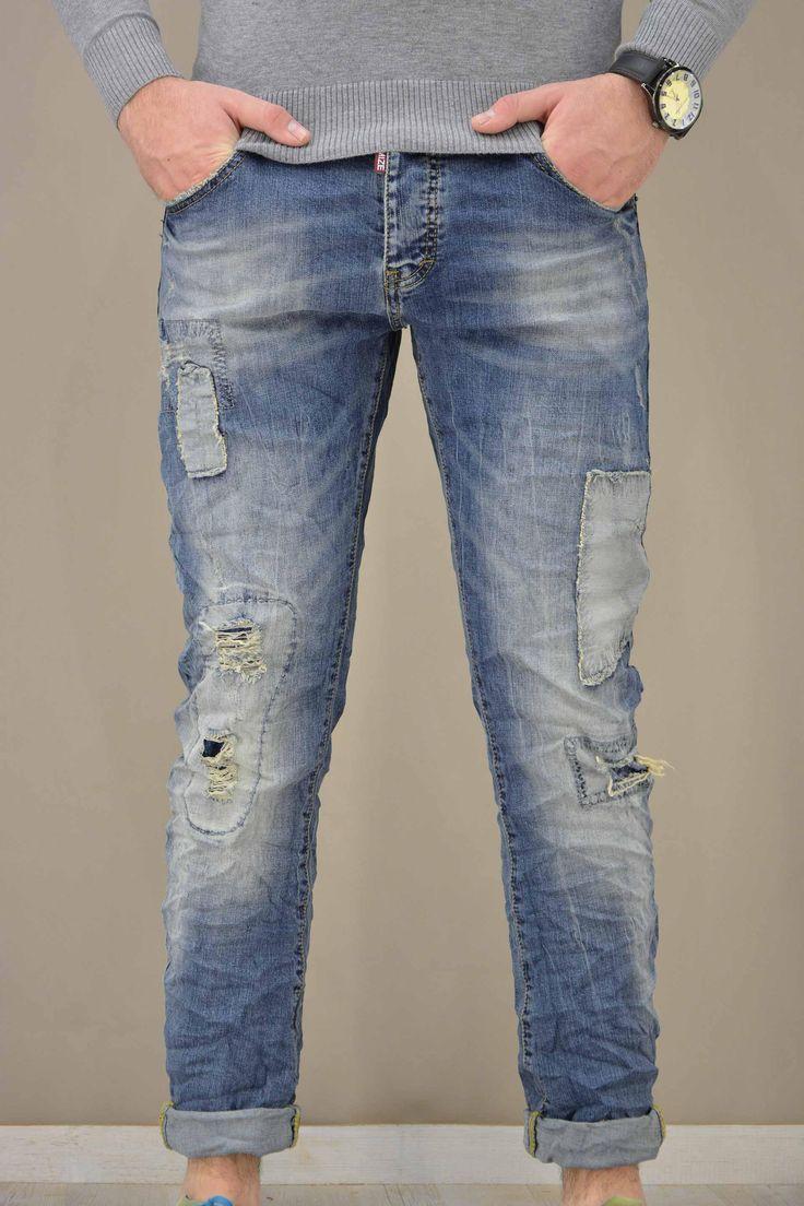 Ανδρικό παντελόνι denim patchwork PANT-5021   Παντελόνια τζίν - Jeans & Denim
