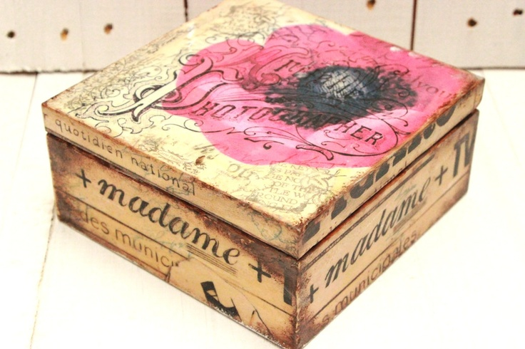 Poppy Tea Box Shabby Tea Caddy Old Letters Kitchen Decor Antique Looking Cigar Box Gift For Men. £24.00, via Etsy.