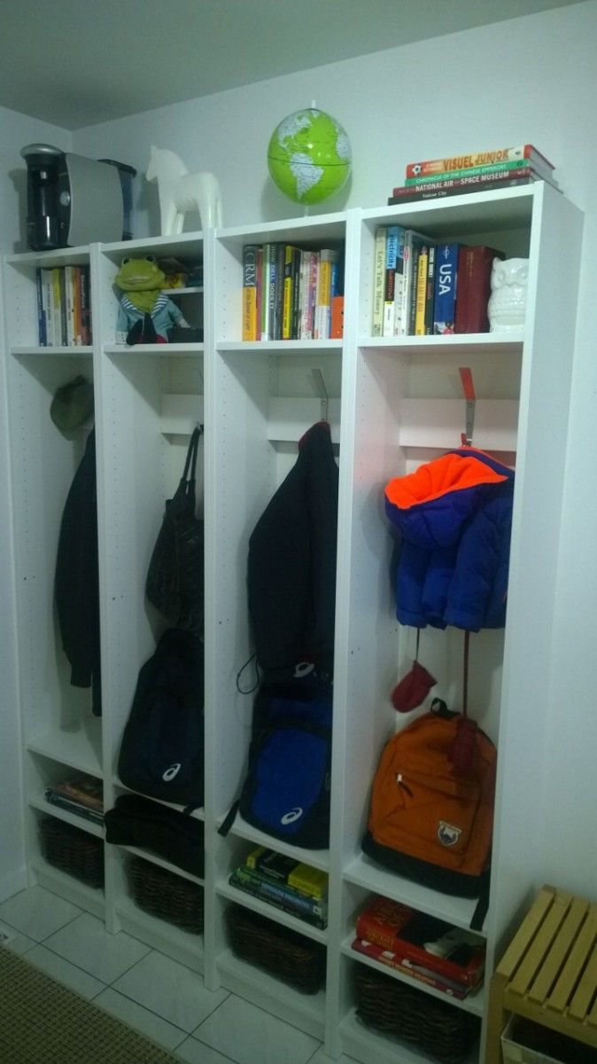 I made my entryway cubbies using four white IKEA BILLY bookcases