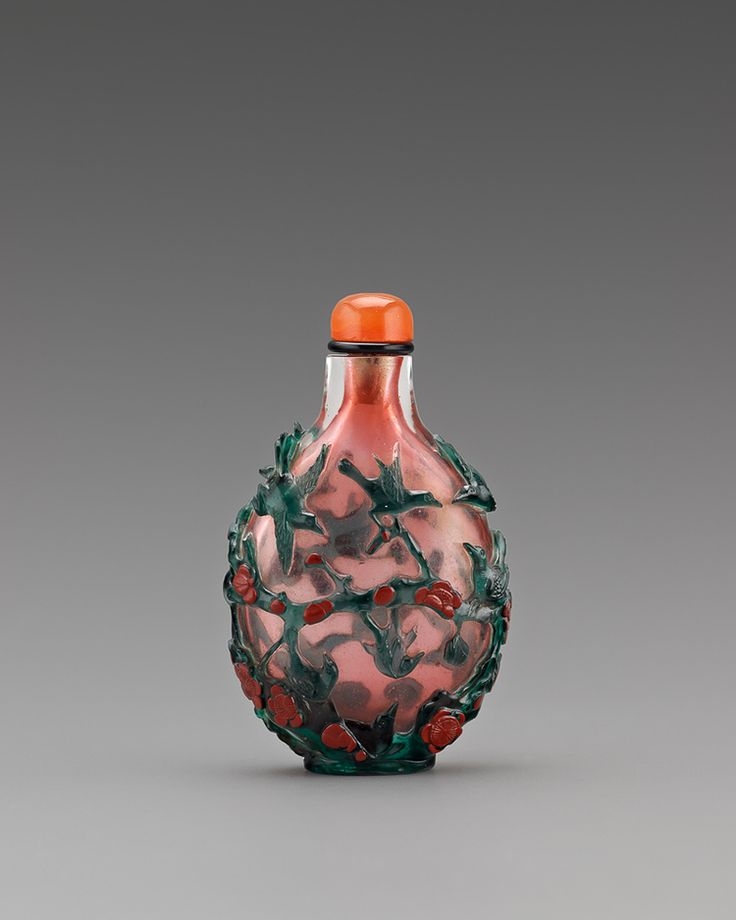 Teal Overlay Coral Glass Snuff Bottle