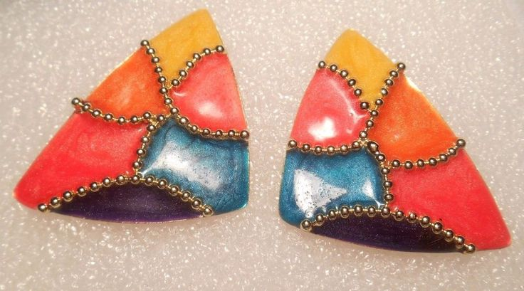 Large Vintage Retro Colorful Enamel and Gold Tone Post Style Pierced Earrings #Unbranded #Pierced
