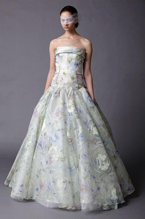 A pastel #wedding dress from Douglas Hannant. #WouldYouWearIt