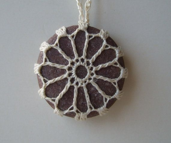 River Rock Necklace  Pendant  Hand Crocheted  by TheTreeFolkHollow, $19.00
