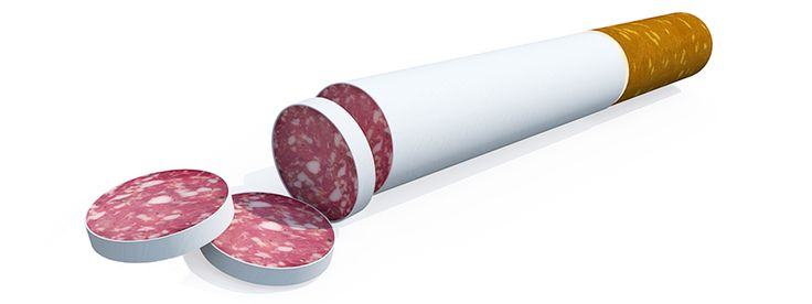 Processed meats rank alongside smoking as cancer causes  WHO!  UN health body says bacon sausages and ham among most carcinogenic  substances along with cigarettes alcohol asbestos and arsenic.   Bacon ham and sausages rank alongside cigarettes as a major