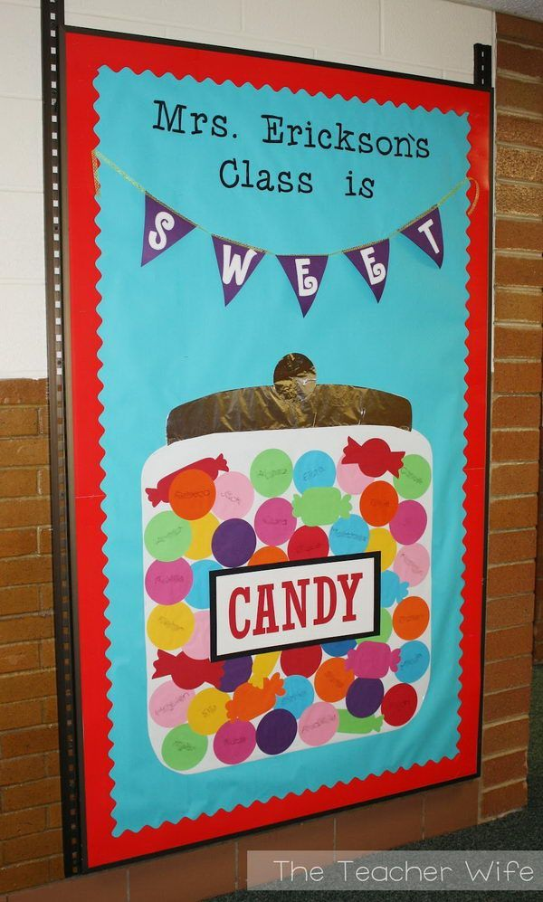 Candy Themed Bulletin Board - The new students see this board on the first day of school and they all have fun finding their own names in the candy jar. 25 Creative Bulletin Board Ideas for Kids, http://hative.com/creative-bulletin-board-ideas-for-kids/,