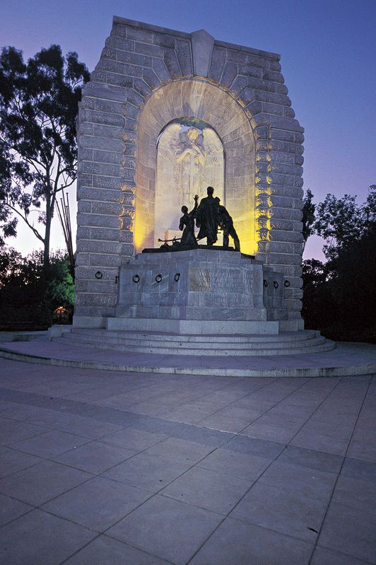South Australian War Memorial. On the corner of Kintore Avenue and North Terrace, these imposing memorials are to those who fell in the Great War (1914–1918) and World War II (1939–1945). They are the focal point of Adelaide's Dawn Service held annually on ANZAC Day, 25 April.