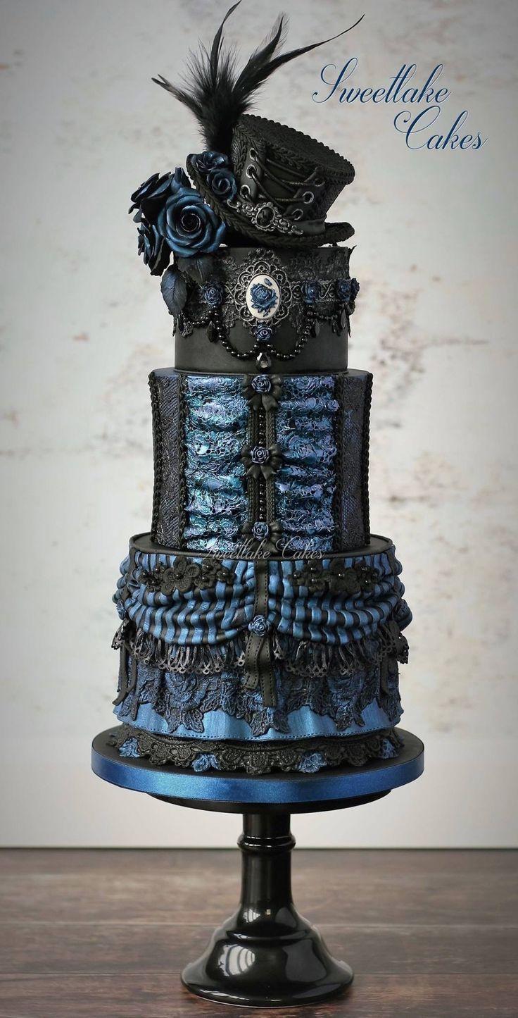 Black & Blue Burlesque Gothic Wedding Cake by Sweetlake Cakes