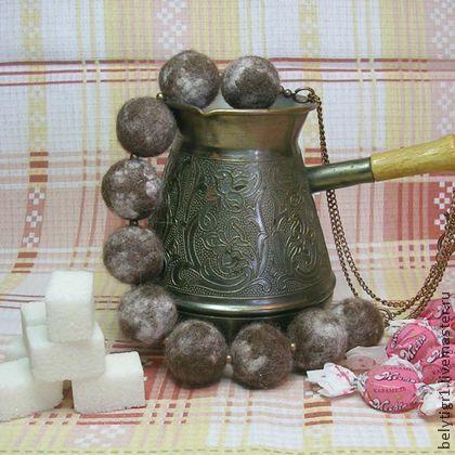 """Бусы """"Капучино в медной турке"""" - коричневый,шоколад,капучино,кофейный"""