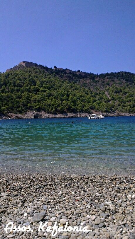 #Assos #beach, #castle, #BlueSky in #Greece