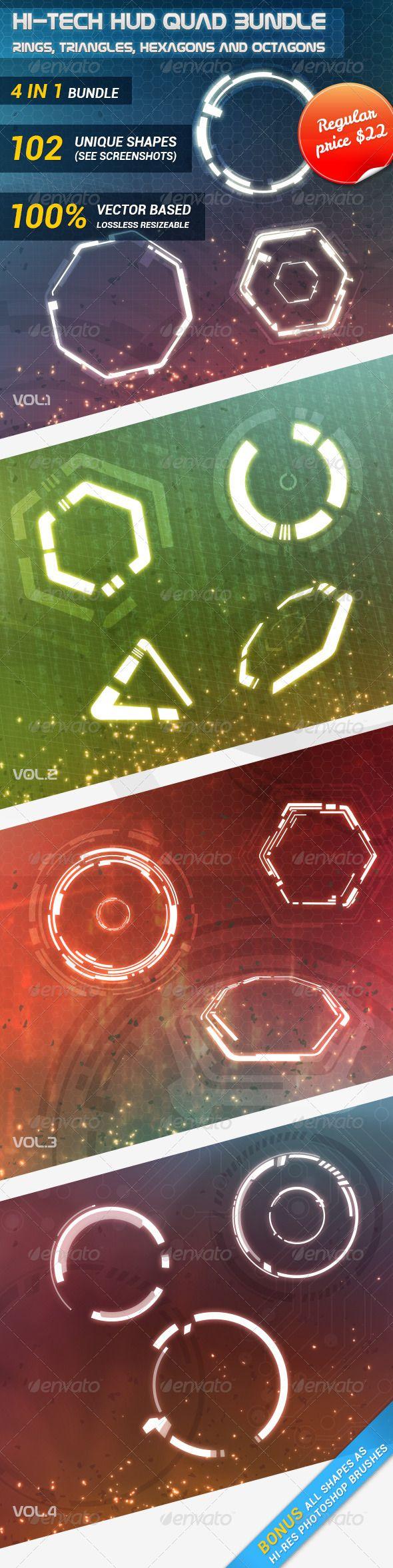 Hi-Tech HUD Quad Bundle - Technology Conceptual