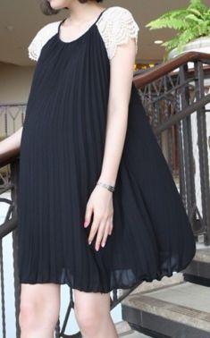 Rochie neagra plisata