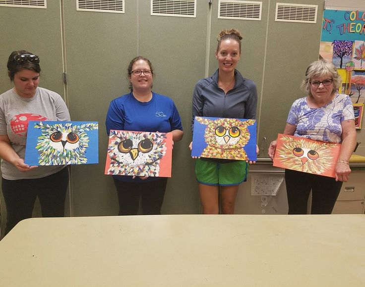 Here are a few of the fun ladies in my Corlorful Owl class last night. One final class tonight.  #paintnight #artforall #fall #Akron