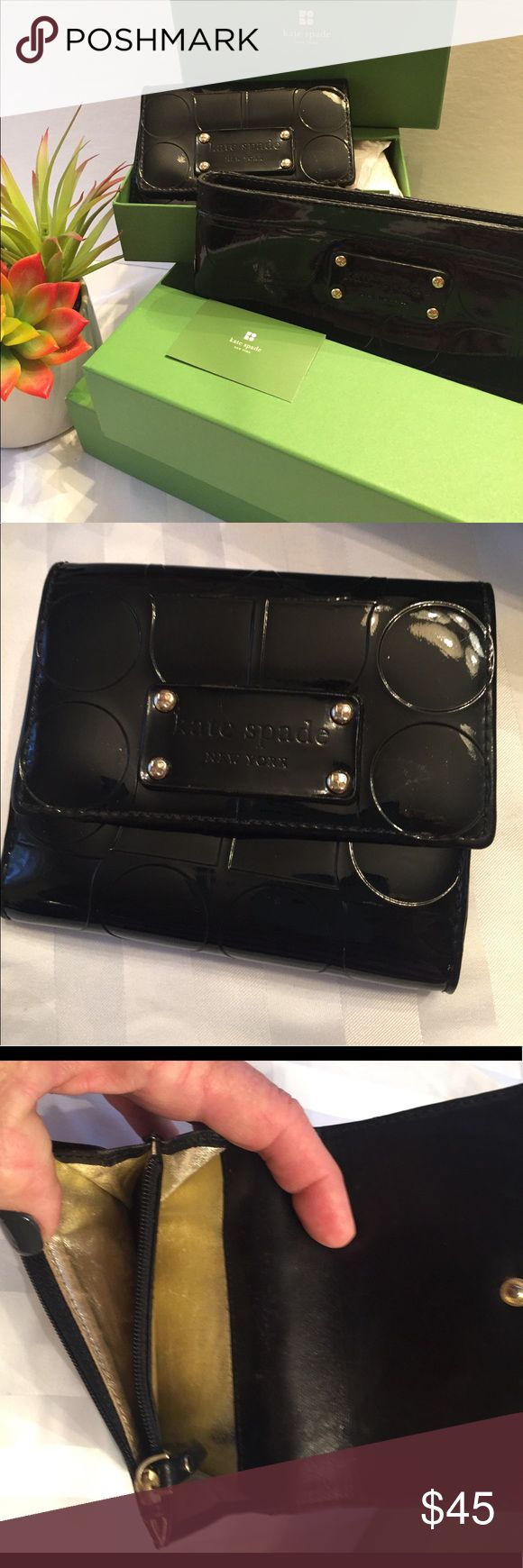 Kate Spade Black Patent Wallet and Wristlet Kate Spade matching wallet and wristlet with gold linings in both. Wallet has change zip pouch and fold out for id/$. Wristlet has pockets inside for goodies! Wristlet has slight wear on top edge, both in boxes with tags!! I'd like to sell together, so priced extra LOW!!! kate spade Bags Wallets