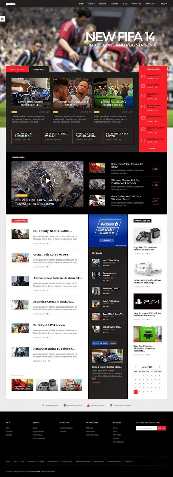 Take it to the next level with Game, the premium Joomla template. Gamers want functionality and usability, but still appreciate a bit of eye-candy. Game provides with clear, concise news and articles and stunning visuals that herald the beginning of the new generation.