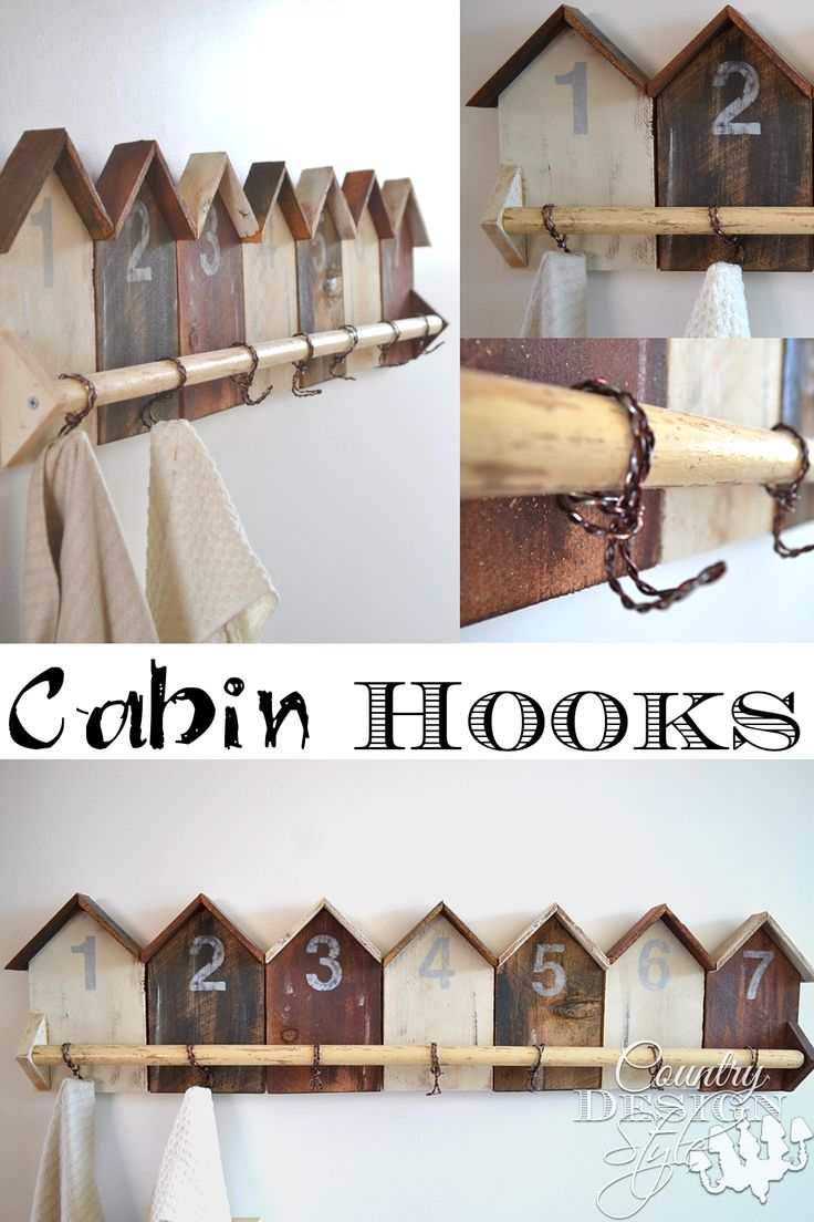 Welcoming guests to our cabin with a number and gift bag on cabin hooks.  Easy cabin style DIY project. Country Design Style