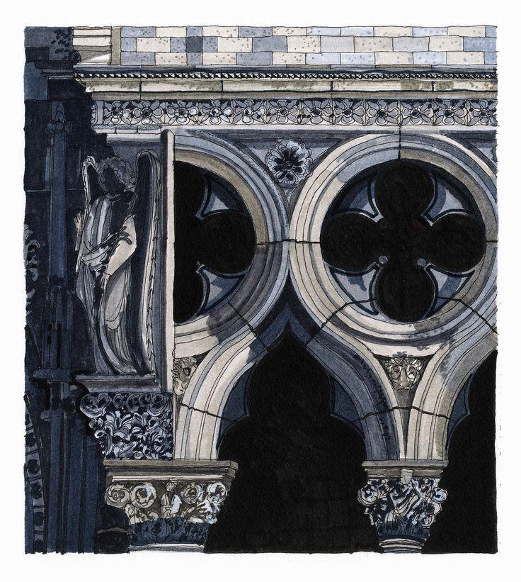 Detail on the Foscari Arcade, Doge's Palace, Venice. #Venice #Doge's Palace #Architecture #Art #Drawing