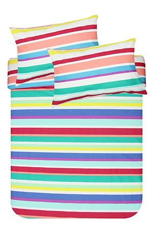 """This multi stripe duvet cover set is made of a soft 132 thread count polycotton. This bright and busy duvet cover set is sure to cheer-up any bedroom setting. Single and three quarter include 1 standard pillowcase, double, queen and king include 2 standard pillowcases.<div class=""""pdpDescContent""""><BR /><BR /><b class=""""pdpDesc"""">Fabric Content:</b><BR />45% Cotton 55% Polyester<BR /><BR /><b class=""""pdpDesc"""">Wash Care:</b><BR>Lukewarm machine wash</div>"""