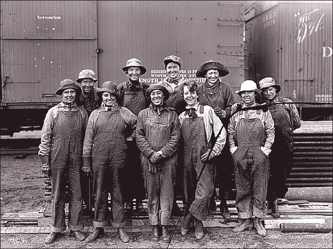 Levi Strauss, the inventor of riveted pants, never called them jeans; he preferred ''waisthigh overalls.'' These women railroad workers are in his full-length, or overall, overalls.