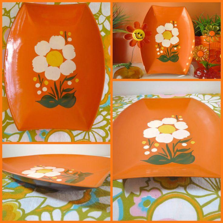 VTG 1970s Retro Orange Groovy Flower Power Lacquer Paint Plastic MOD Decor Tray