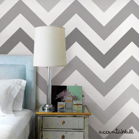 Chevron Cool Grey Peel & Stick Fabric Wallpaper by AccentuWall | chevron moveable wallpaper in shades of grey and white | bedroom featuring mirrored nightstand