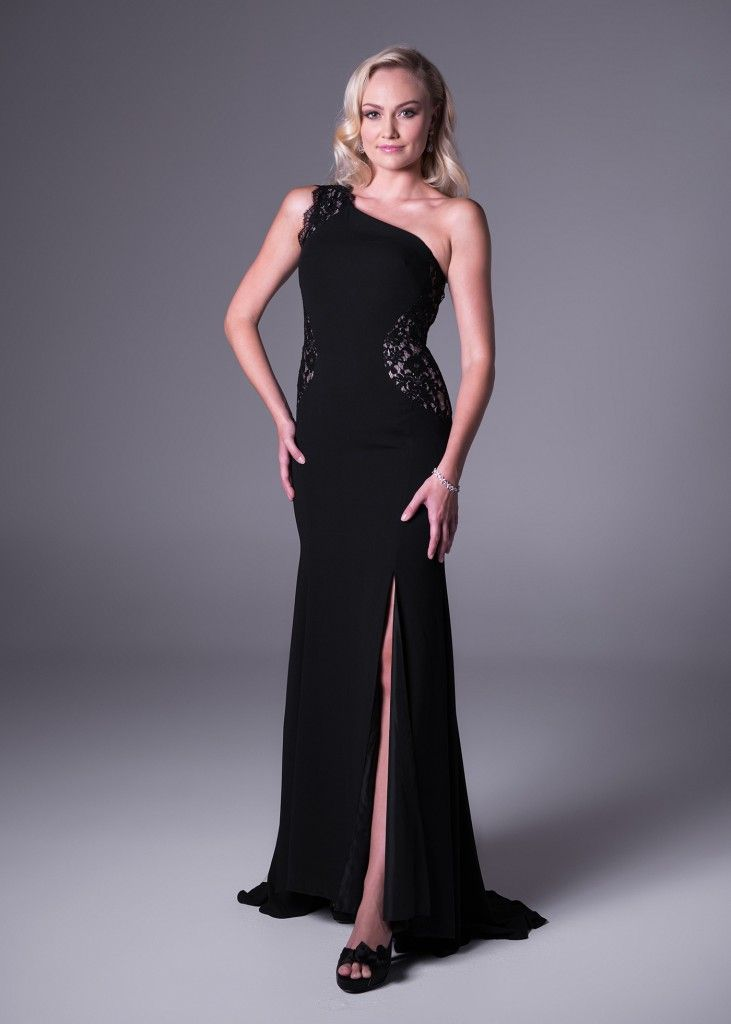 One-shoulder #blackdress with #lace insert, only from @brideandcosa (style: VC2799 #dress available in #black and #champagne). Click to view more or book a fitting at #brideandco. #glamorous #gorgeous #dresses #specialoccasion