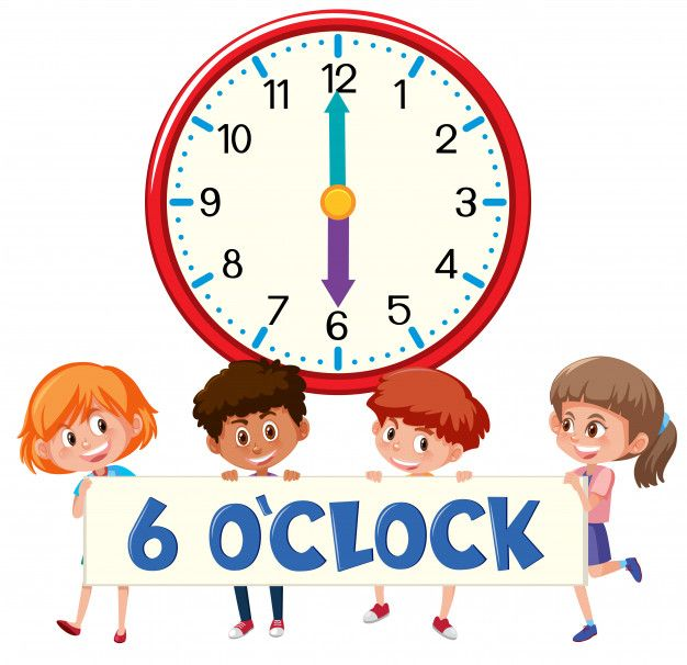 Children And Time 6 O Clock In 2020 Clock Kids Vector Banner Vector