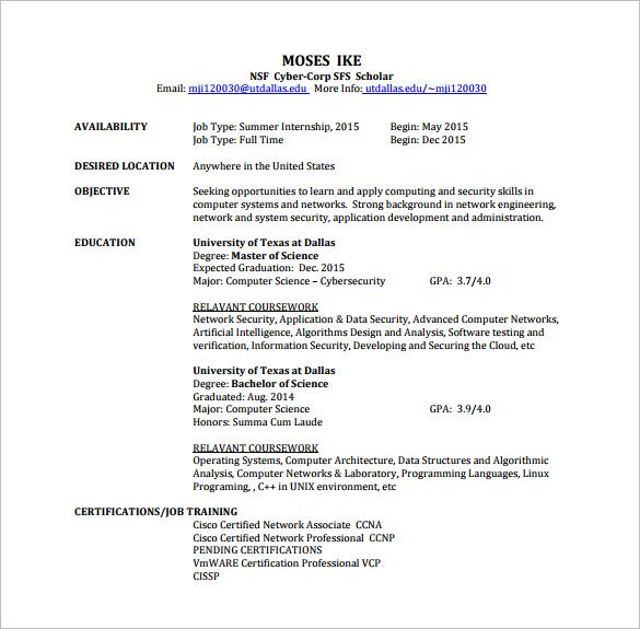Resume For Network Engineer Pdf - Vision professional
