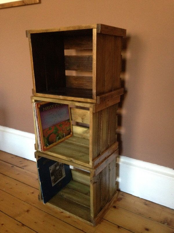 """Old produce crates fits 12""""vinyl records"""