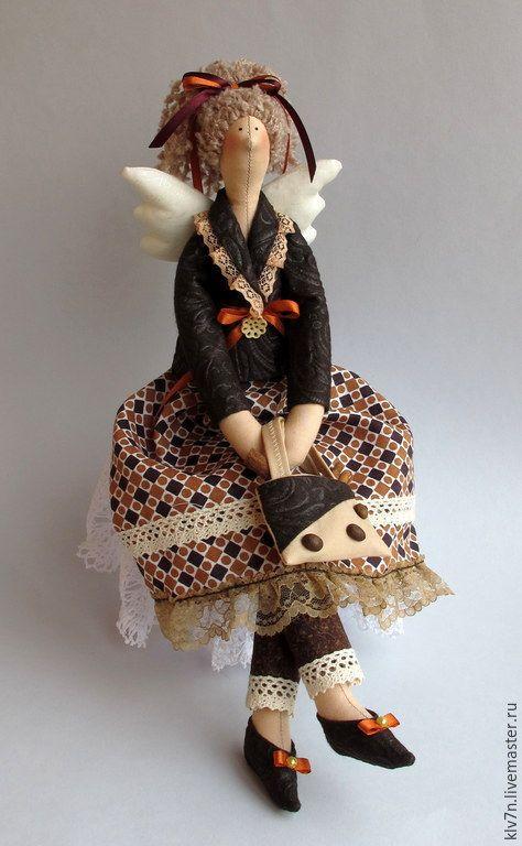 Купить Тильда ангел Кофеюшка - коричневый, тильда, тильда кукла, тильда ангел, кофе, кофеюшка