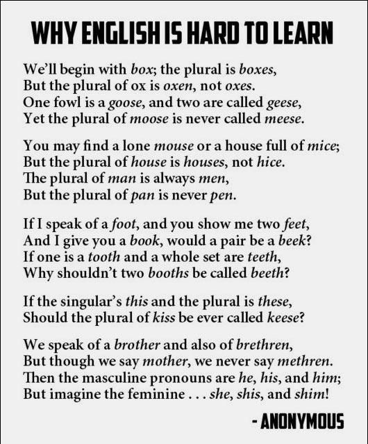 A Poem Illustrating Why English Is Difficult To Learn | Viewed From Another Angle