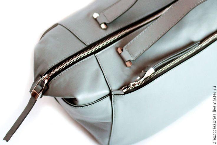 Купить Кожаная сумка Vera серая - большая сумка, Кожаная сумка, спортивная сумка