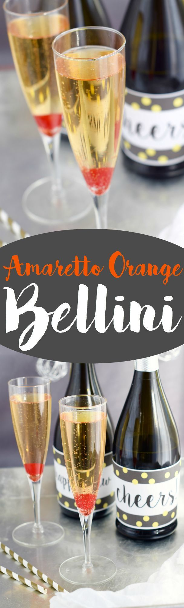 This Amaretto Orange Bellini is a super fast cocktail that is going to be your new favorite way to drink champagne!: