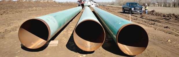 PR part of the oil pipeline business ...  Opinion: Demand answers from promoters of carbon polluting projectsThree sections of pipe sit on the ground during construction of the Gulf Coast Project pipeline in Atoka, Okla. The project is a 485-mile crude oil pipeline being constructed by TransCanada Corp.