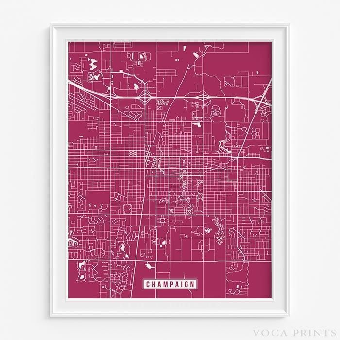 CHAMPAIGN, ILLINOIS Street Map Wall Art Poster. Starting at $9.90 with 42 color choices at VocaPrints.com - #streetmap #map #homedecor #wallart #CHAMPAIGN #ILLINOIS