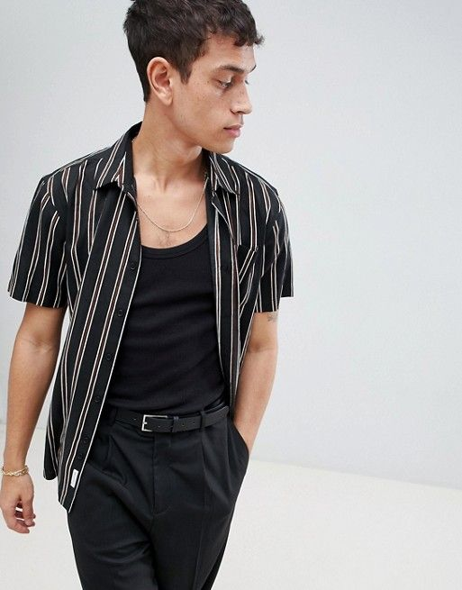 c461e2a4083 Bellfield Short Sleeve Shirt With Vertical Stripe | My fashion style ...