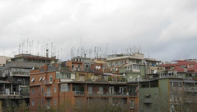 Television aerials. Rome, Italy
