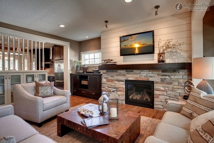 Living Room With Fireplace And Tveffect Picture Of