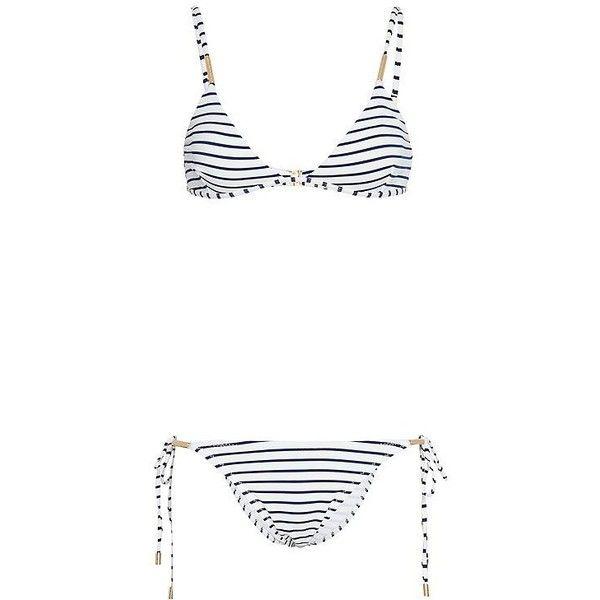Melissa Odabash Verona Nautical Triangle Bikini- FINAL SALE ($235) ❤ liked on Polyvore featuring swimwear, bikinis, triangle swim wear, navy striped bikini, nautical swimwear, white swimwear and white bikini swimwear