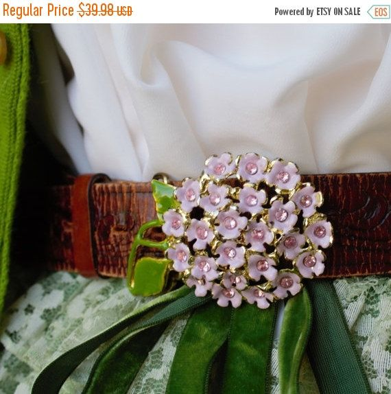 "Fabulous 50% off Sale Beautiful Brown Genuine Leather 1  1/2""  Belt with Tooling Scroll Leaf Pattern   Lavender Lilac  Metal Enamel Buckle"