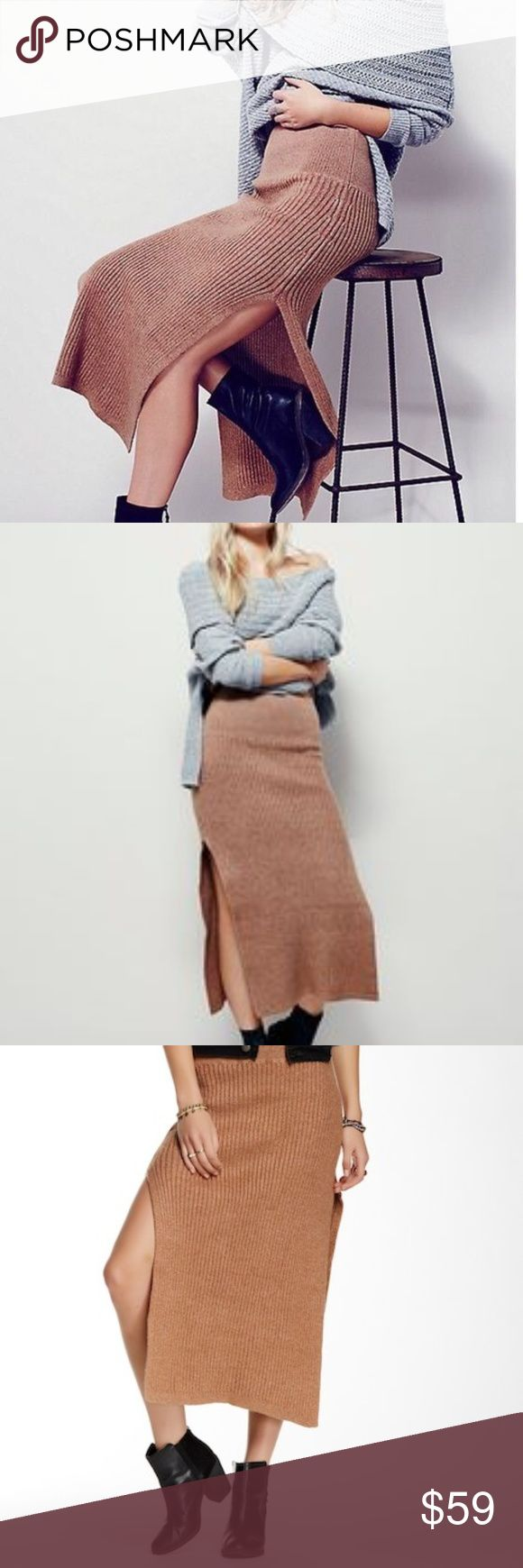 """Free People Felix Stretch Ribbed Midi Skirt Side slits make a sultry statement on a rib knit sweater skirt. - Elasticized waist - Side slits - Ribbed construction - Approx. 16"""" shortest length, 34"""" longest length Fiber Content: 30% cotton, 25% acrylic, 23% nylon, 14% rayon, 8% linen Hand wash cold Size XS, but will fit size 4-6  Very good used condition. Free People Skirts Midi"""