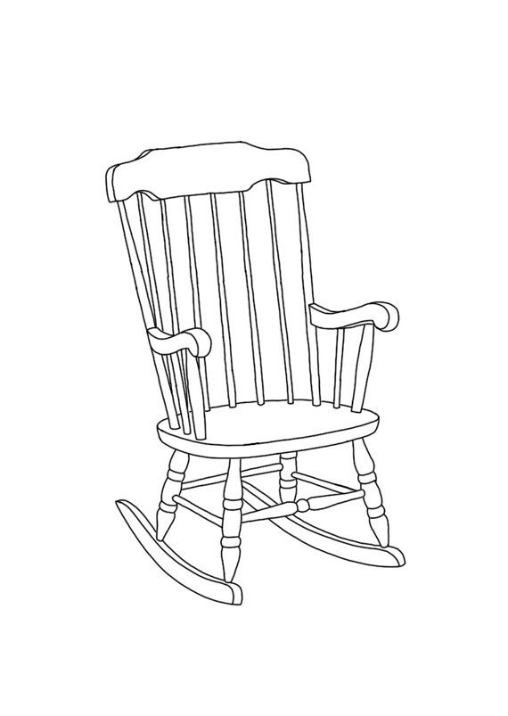 Rocking Chair Linear Line Hand Drawing A6 By