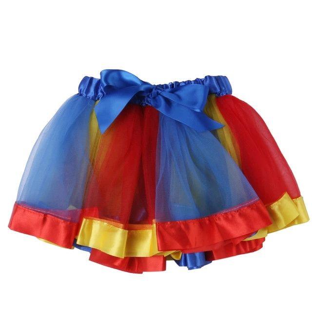 Rainbow Pettiskirt Tutu Skirt Blue Red READY TO SHIP